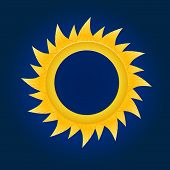 The sun circle. On blue sky background.