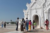 White pagoda in Min Gun, Myanmar