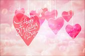 stock photo of girly  - Happy valentines day against digitally generated pink girly design - JPG