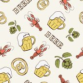 Glass of beer, hop, and crayfish seamless pattern