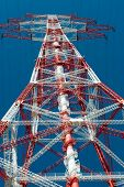 foto of electricity pylon  - Electricity pylon for the alternative energy supply over land - JPG