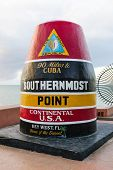 KEY WEST, FL - DECEMBER 29, 2014: Southernmost point buoy marker in continental USA in Key West, Florida in 2014.