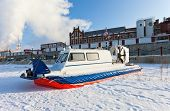 Hovercraft On The Bank Of A Frozen River