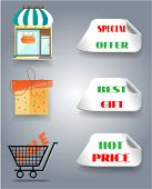 Set of shop, gift shopping trolley and labels with text
