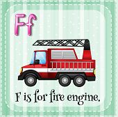 Illustration of a letter F is for fire engine