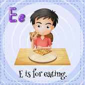 Illustration of a letter E is for eating