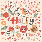 Bright card with beautiful name Haley in poppy flowers, bees and butterflies. Awesome female name design in bright colors. Tremendous vector background for fabulous designs