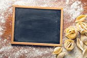 the chalkboard and raw pasta