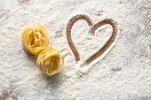 image of carbohydrate  - top view of heart and pasta - JPG