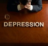 Word Depression and devastated man composition