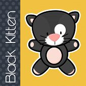 pic of baby cat  - cute little baby black cat and text on solid color background with black and white outline for easy isolation - JPG