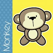 picture of baby-monkey  - cute little baby monkey and text on solid color background with black and white outline for easy isolation - JPG