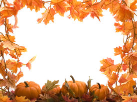 foto of fall leaves  - pumpkins on white background with fall leaves frame - JPG