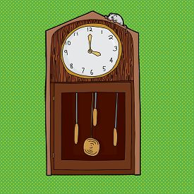 foto of nursery rhyme  - Mouse on top of antique grandfather clock over green - JPG