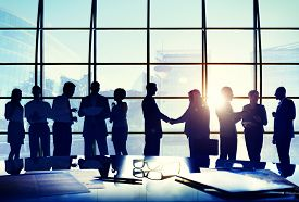 stock photo of handshake  - Business People Conference Interaction Handshake Agreement Greeting Concept - JPG