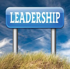 image of leadership  - natural leader great leadership in business and other markets road sign - JPG