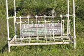 image of statements  - Bed frame with signage humor statement in grass overgrown field - JPG