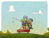 picture of recreational vehicles  - funny illustration of Family vacation with car - JPG