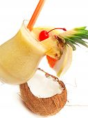 image of pina-colada  - Pina Colada cocktail isolated on white background - JPG
