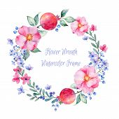 foto of rose  - Vector round frame of watercolor roses - JPG