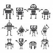 image of robot  - Flat design style robots and cyborgs - JPG