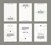 pic of placard  - Set of vector poster templates with pattern in thin line style - JPG