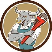 image of nose ring  - Illustration of a bull plumber standing with arms folded looking to the side holding monkey wrench set inside circle on isolated background done in cartoon style - JPG