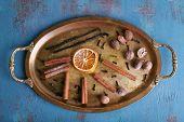 stock photo of cinnamon sticks  - Cinnamon and vanilla sticks - JPG
