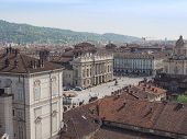 stock photo of turin  - Aerial view of Piazza Castello central baroque square in Turin Italy - JPG