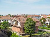 picture of turin  - Aerial view of the town of Settimo Torinese in the province of Turin Italy - JPG