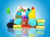 pic of housekeeper  - Cleaning supplies in a basket  - JPG