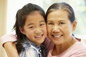 stock photo of granddaughters  - Senior Asian woman and granddaughter - JPG
