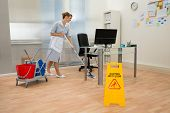 pic of maids  - Young Maid Cleaning Floor With Mop In Office - JPG