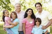 picture of extended family  - Multi Generation Hispanic Family Walking In Park - JPG