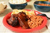 image of ribs  - Barbecued pork ribs and baked beans on a picnic plate - JPG