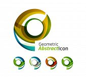 image of universal sign  - Set of abstract geometric company logo ring - JPG