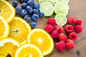 picture of infusion  - Sliced fresh organic fruits prepared to make infused water. ** Note: Shallow depth of field - JPG