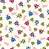 stock photo of ladybug  - Vector colorful Seamless Cute background with ladybugs and leaves - JPG
