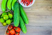 picture of farmers market vegetables  - Fresh farmers market vegetable from above with copy space - JPG