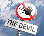 pic of satan  - stop the devil or satan no sinning - JPG