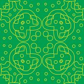 foto of symmetry  - Seamless symmetry of yellow lines over green - JPG