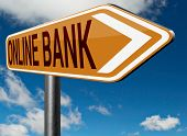 stock photo of internet-banking  - online internet banking money deposit bank account road sign