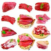 stock photo of pork  - Collection of images of beef and pork - JPG