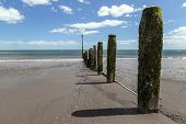 foto of sea-scape  - Shot of a beach on a sunny day looking out to the sea - JPG