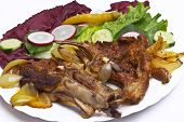 image of lamb chops  - Barbeque lamb chops with Vegetables  - JPG