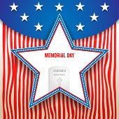 stock photo of veterans  - Memorial day design on striped background - JPG