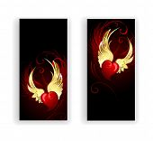 stock photo of two hearts  - two banners with red hearts angel with golden wings on a black background - JPG