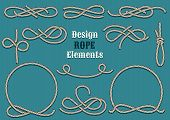 stock photo of roping  - Set of Rope Design elements - JPG