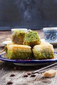 foto of baklava  - turkish delights - baklava sweets  with cup of coffee
