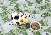 picture of cash cow  - cow a moneybox on a green field of euro notes and a feeding trough of coins - JPG